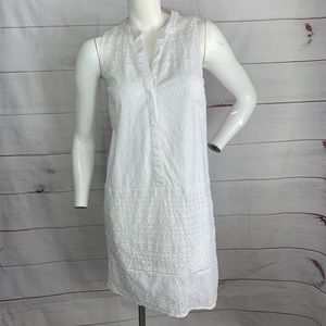 LOFT sleeveless button down white dress sz 2
